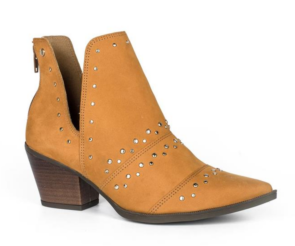 Yellow Caramel Leather Low Ankle Boot | Women's Western Boot