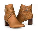 Grace Brown Buckled Bootie
