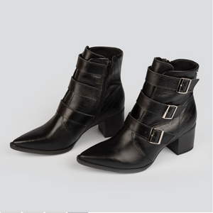 Analiz Black Multi Buckled Pointy Boot