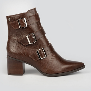Analiz Taupe Multi Buckled Pointy Boot