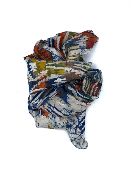 Silk Scarf Multicolor Red