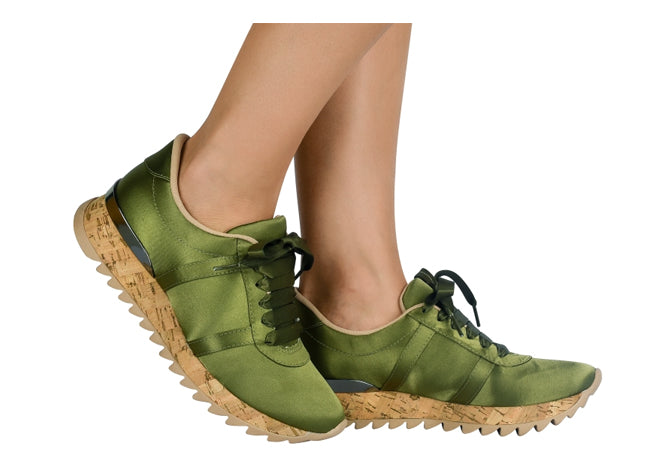Women Olive Satin Sneaker | Luxury Snickers