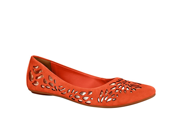 Women's Casual  Leather Ballet Flat Orange | Free Shipping