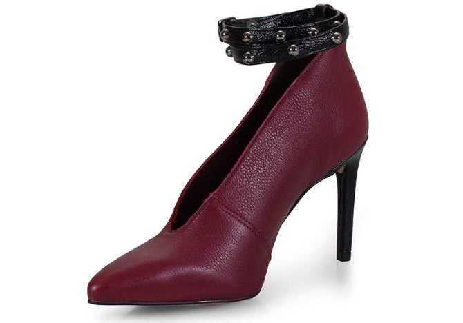 Scarssi Burgundy/Black Studded Ankle Wrap Pump | women's pumps