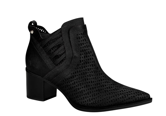 Black Laser Cut Bootie|  Black chunky heel leather ankle bootie