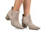 Palley beige chunky block heel leather bootie | women's medium heel