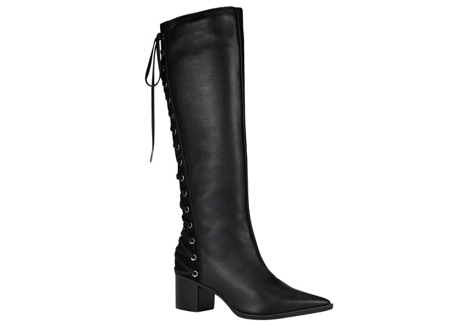 Scarssi Tall Black Lace Up Leather Boots | women's boots