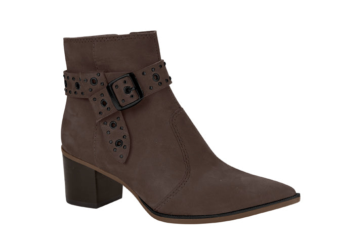 Taupe Pointy toe suede ankle bootie | Short Boots for Women