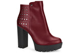 Scarssi Burgundy Studded platform ankle Bootie | women's high heel