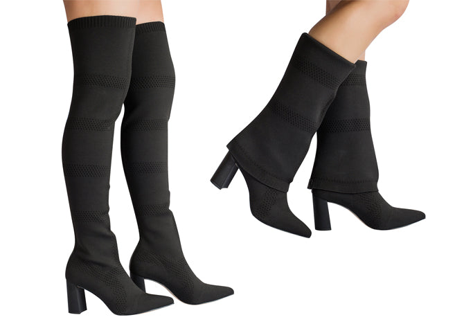 Malha Black Over The Knee Mesh Adjustable Boot | women's boots