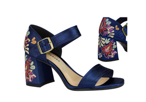 Navy Satin Women Sandals| Floral Detailing | Luxury Shoes Styles