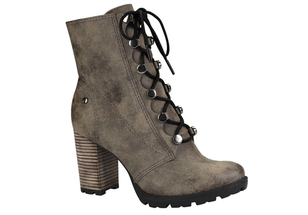 Tall Grey Lace up Ankle Booties| women's medium heel
