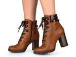Brown Leather Front Lace Up Block Heel Platform | Ankle Bootie