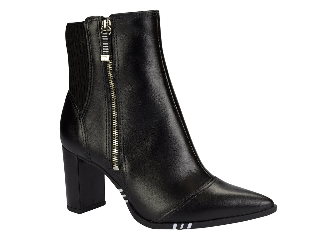 Black Pointed Toe Block Heel |  Ankle Boot