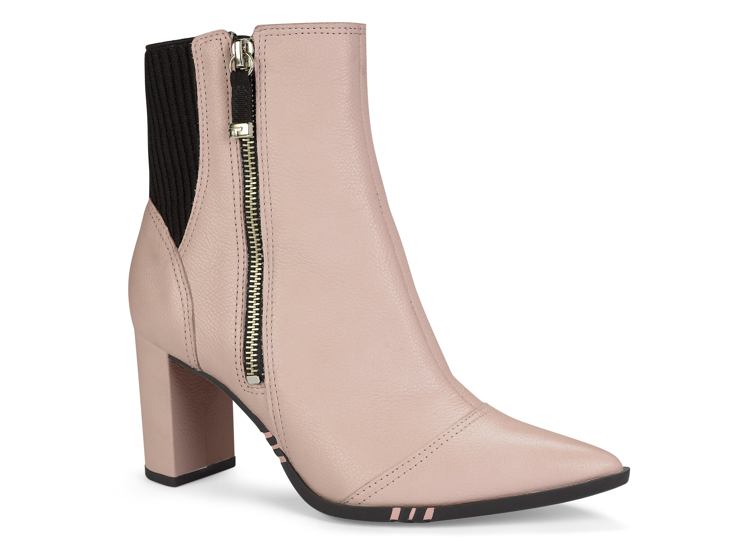 Blush Pointed Toe Block Heel |  Ankle Boot
