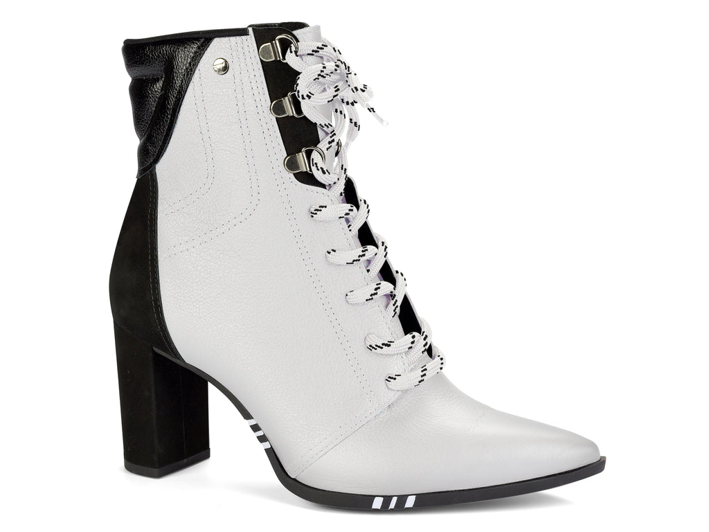 Black And White Pointed Toe Block Heel | Front Lace Up  Ankle Boot