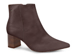 Leather Taupe Pointed Toe Ankle Boot | Women's Leather Boot