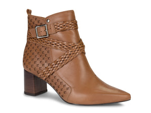 Caramel Leather Buckle Pointed Ankle Bootie | Women's Block Heel