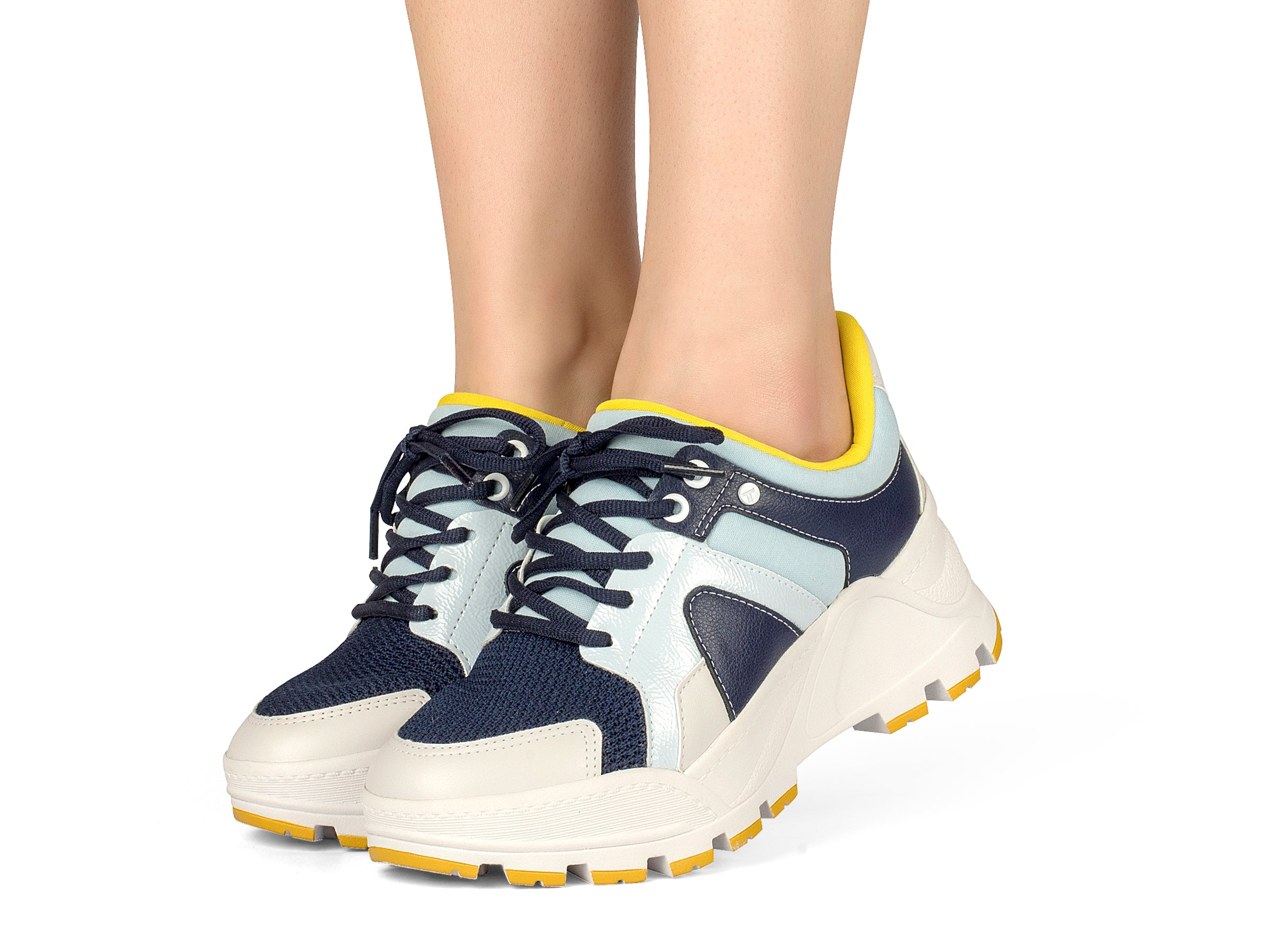Navy and Yellow Triple-Stacked Sneaker I Women's Sneaker