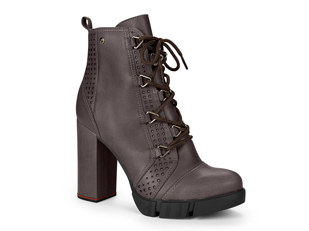 Grey Leather Chunky Lace Up Boots Chunky  | High Block Heel
