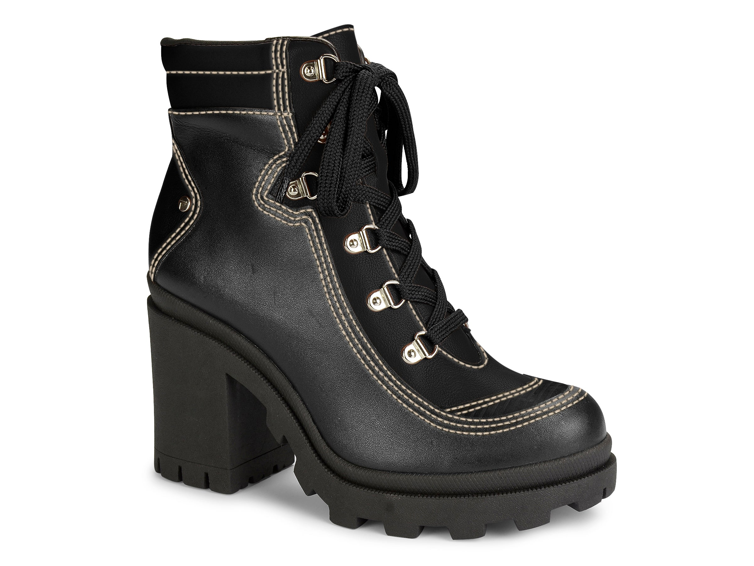 Black Leather Chunky Lace Up Boots  | Combat Boot