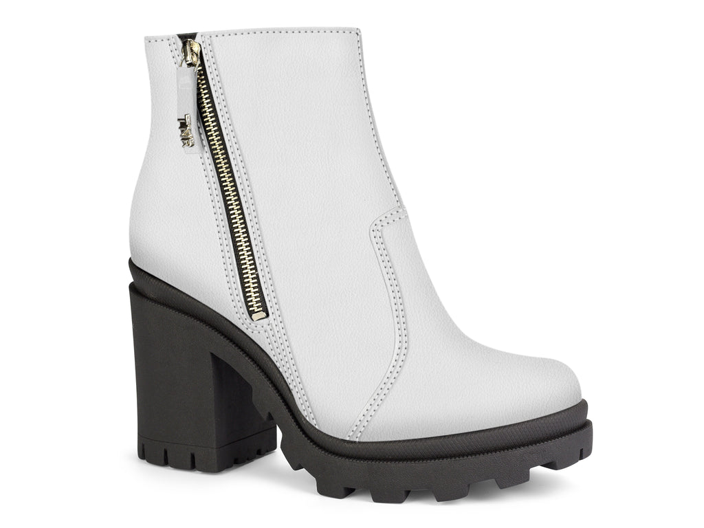 White Platform Ankle Zip Up Booties | Block Heel