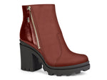 Maroon Leather Platform Ankle Zip Up Booties | Block Heel