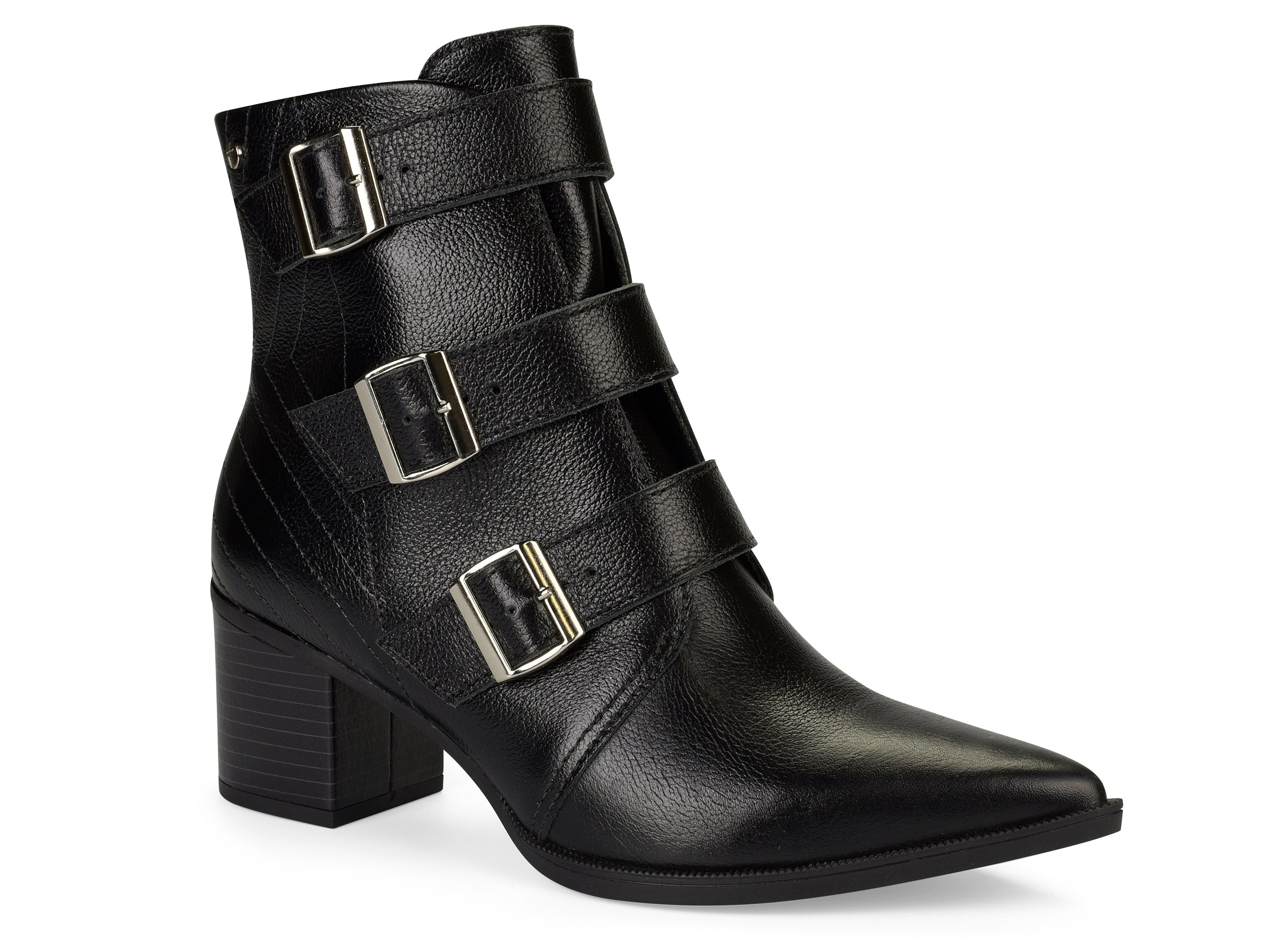ather Buckled Pointed Toe Ankle Boot | Women's Leather Boot