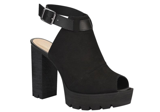 Black Platform Mule Sandals | Block Heels Women Bootie