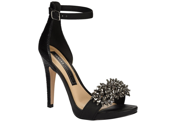 Black Beaded High Heels  Sandals |Formal evening Shoes