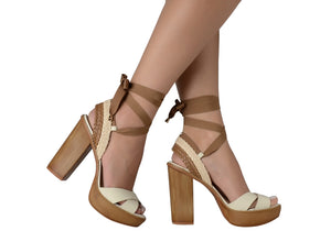 SANDAL OFF WHITE ANKLE WRAP BLOCK HEEL