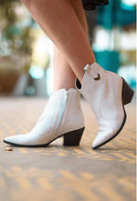 White Leather Low Ankle Bootie | Women's Western Boot