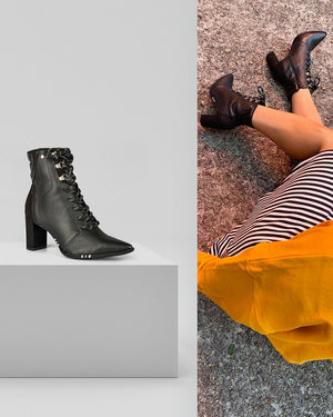 Black Pointed Toe Block Heel | Front Lace Up Ankle Boot