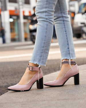 Blush Pointy Toe Ankle Strap Pumps | Block medium heels
