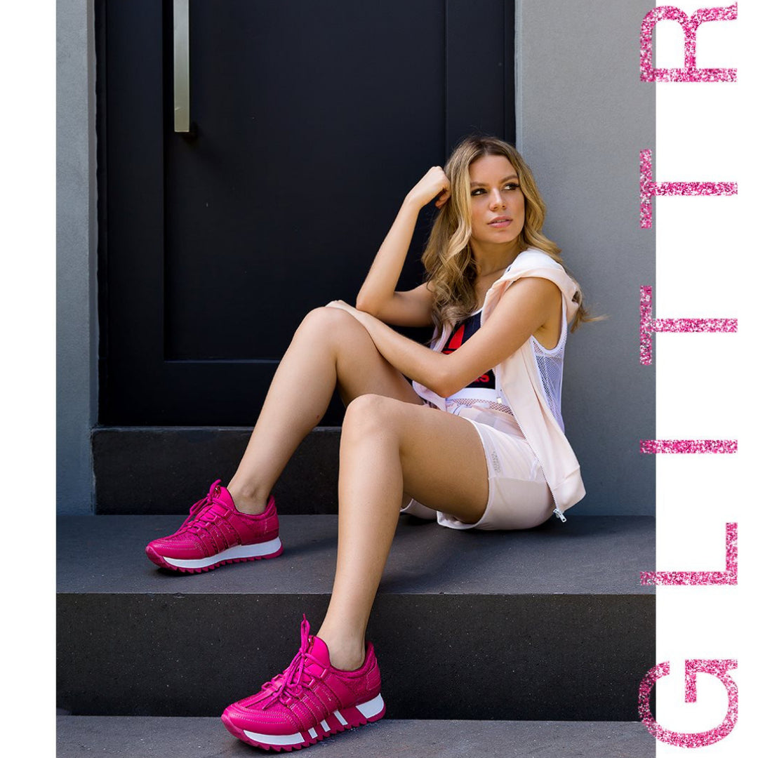 Raspberry and White Sneaker | Women's Sporty Shoes