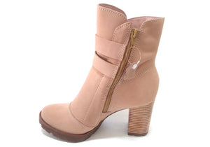 Liz Nude Tall Buckled Ankle Bootie | women's medium heels