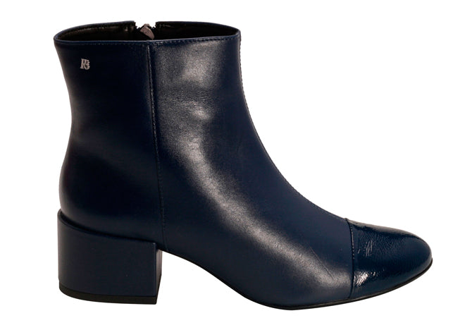 Navy Blue Ankle Leather Bootie | Pre fall Women's bootie