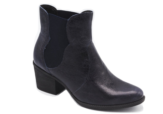 Navy Blue Leather Ankle Boots T0941A