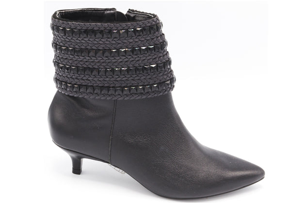 Manta Black Leather Booties