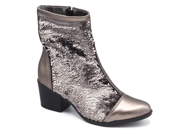Metallic Pewter Ankle Booties T0948