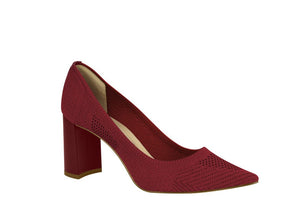 Red pointy toed pumps | Block heel | Mesh | Brazilian made