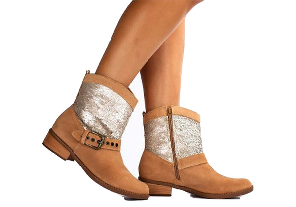 Camel Low Ankle Buckled Booties