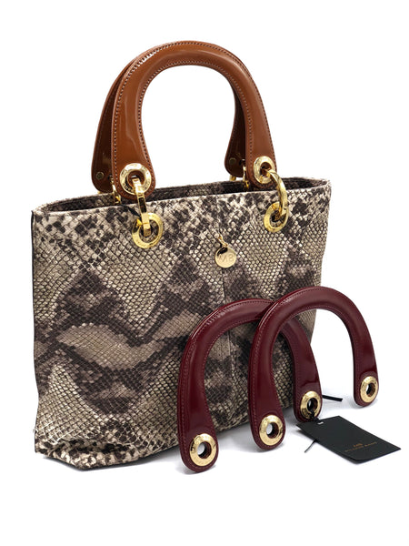 ESSENTIAL SNAKE LEATHER SATCHEL  DS2226