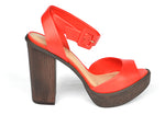 RED BLOCK HEEL SANDAL LUCI