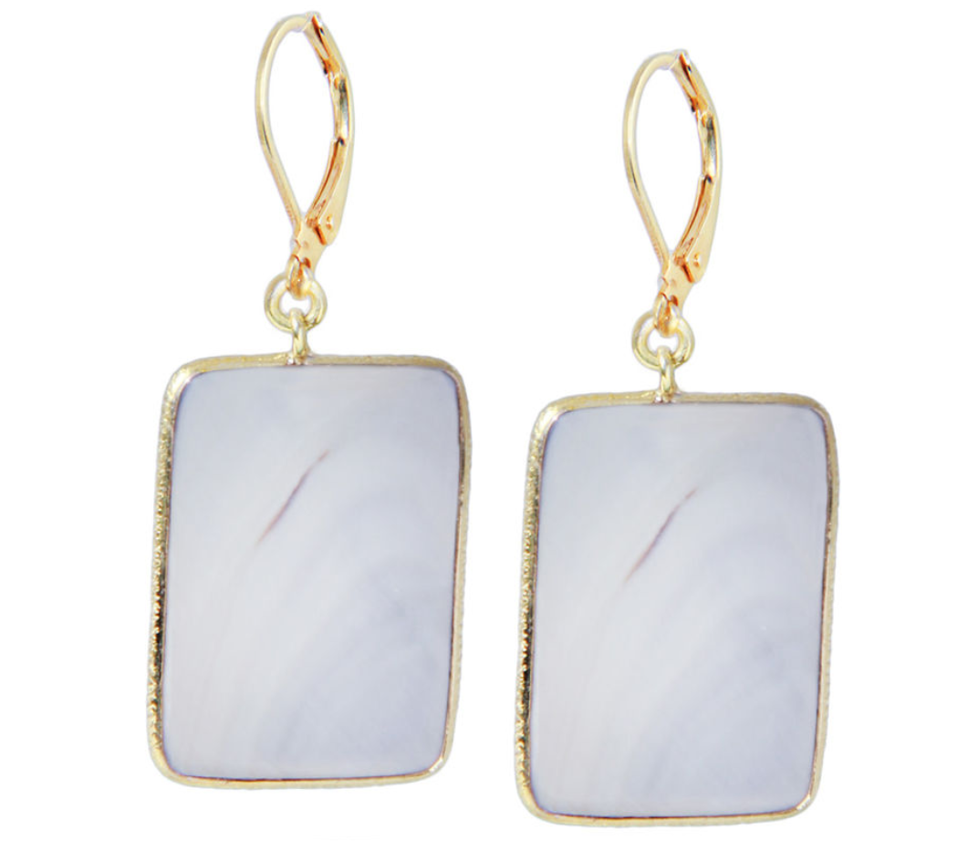 Grey Mother of Pearl Rectangular Earrings