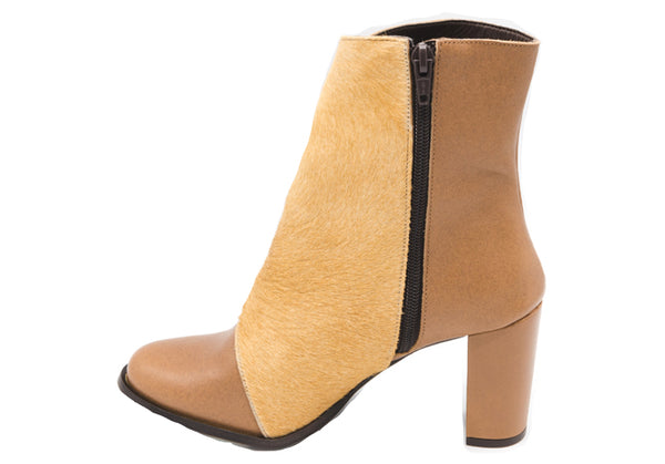 Camel Pony Leather Booties