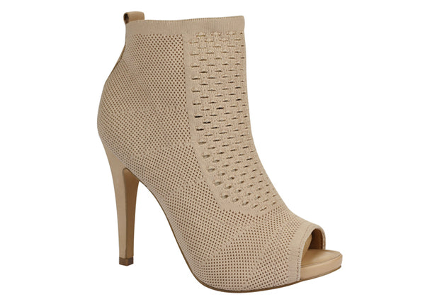 Stiletto Heel Nude Ankle Booties T1701