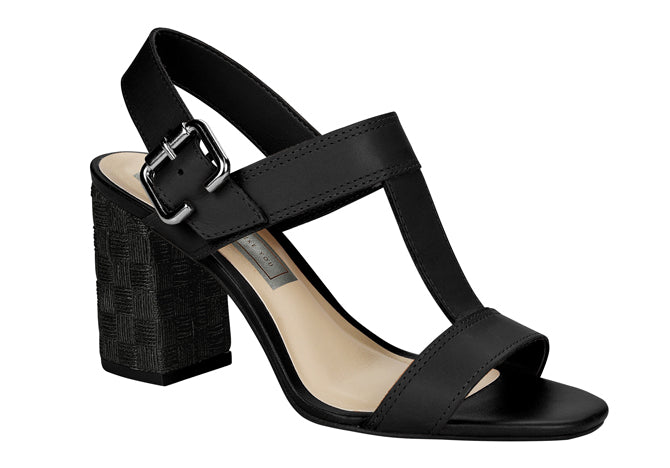 Medium Heel Black Sandals T1943
