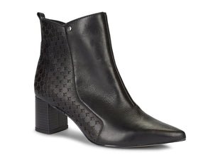 Black Leather Block Heel Pointed Ankle Bootie | Women's Boot