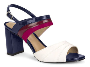 Multi-colored Navy Medium Heel Patent Leather Sandal | Women's Shoes